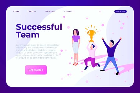 Business team celebrating the success. Team member raises a winning cup above his head. Vector website concept Ilustracja