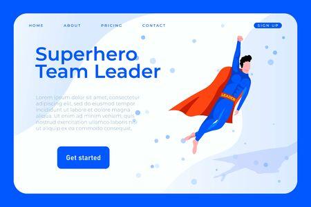 Superhero team leader illustration concept, superhero businessman web page landing Ilustracja
