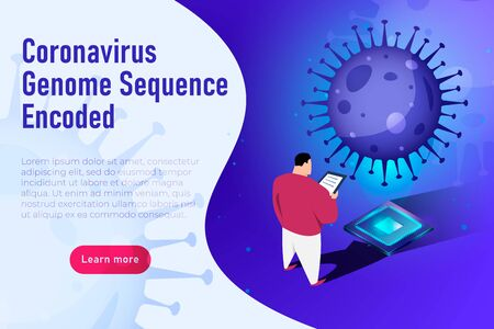 Coronavirus Genome Sequence Encoded. Science themed covid 19 illustration, scientist decrypts the SARS CoV 2 genome sequence