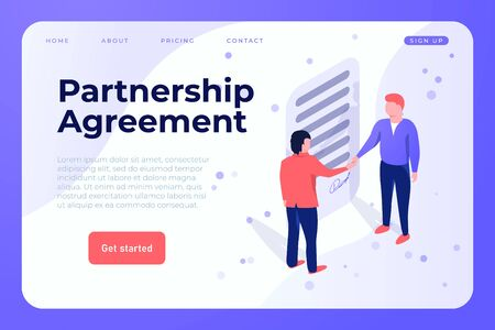 Partnership Agreement illustration webpage landing template. Two people signed the agreement by shaking the hands Ilustracja
