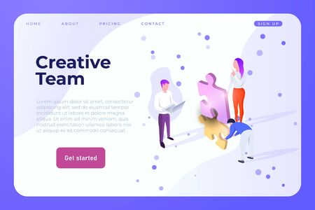 Creative Team web design page template, vector. Creative isometric people make a brainstorming with puzzle 3d elements Ilustracja