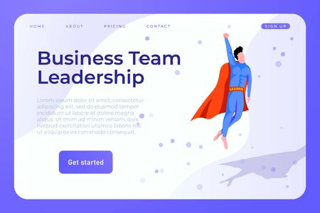 Business team leadership web page landing template with superhero man concept as a leader of team.