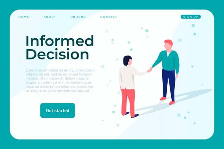 informed decision web design page template, two isometric people shake hands and make an informed decision