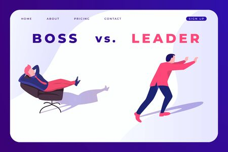 difference between boss and leader. Boss and leader illustration banner concept, poster template.