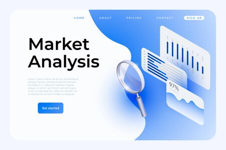 Market analysis webpage template, social media layout. Isometric charts, graphics, info bars, large magnifier