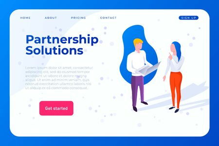 partnership solutions web landing page concept. two employees discuss and solve a problem, seek a solution. Ilustracja