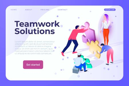 teamwork solutions vector web page landing design template. Creative team solves the problemn, vector landing page concept