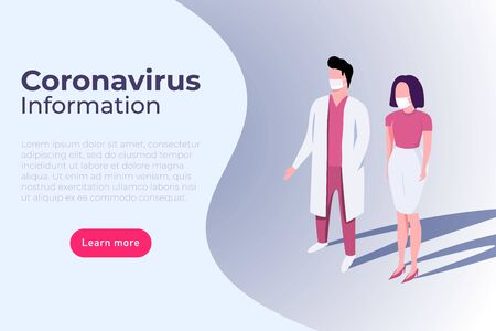 Coronavirus symptom and prevention infographic with doctor in mask. Ilustracja