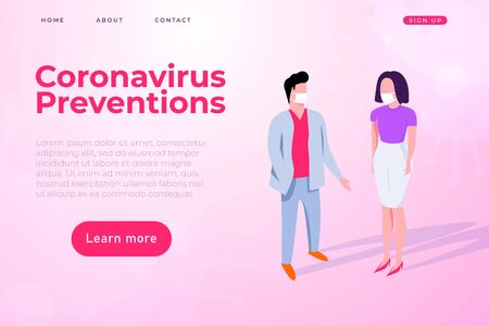 Coronavirus preventions illustration with two people protected himself from covid 19 by masks