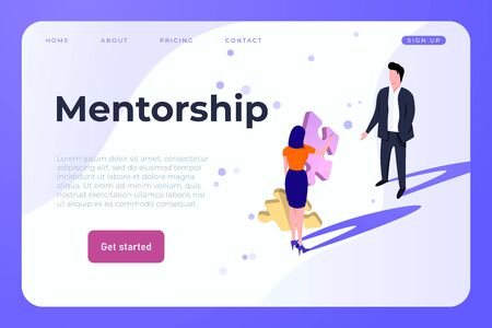 Mentorship landing web page template with mentor and his student Ilustracja