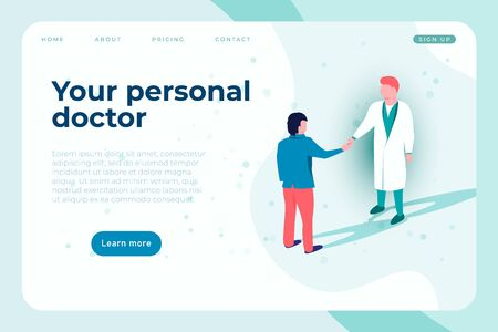 your personal doctor landing page template with illustration of doctor and pacient.