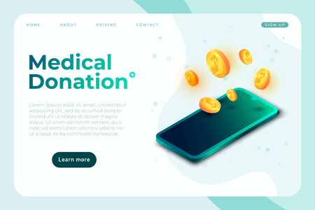 Medical donation banner template, health care charity landing page template