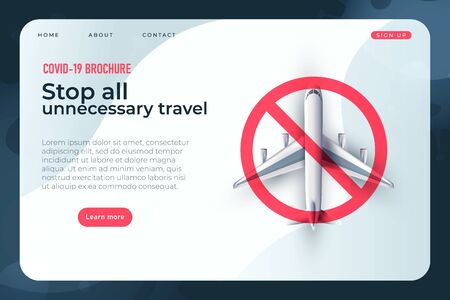 stop all unnecessary travel, covid 19 brochure with realistic 3d plane illustration