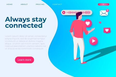 always stay connected business page template with modern illustration of busy man and social media icons around him. vector landing page template