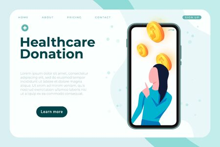 Medical donation banner template, health care charity landing page template, vector illustration Ilustracja