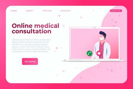 Online medical consultation landing page concept with illustration of doctor in laptop. Online medicine illustration. Ilustracja