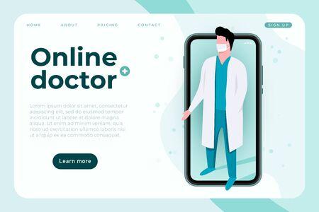 online doctor, tele medicine banner concept. communication with doctor via smartphone app. vector Vektorgrafik
