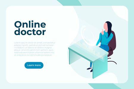 online doctor medical consultation banner concept. vector