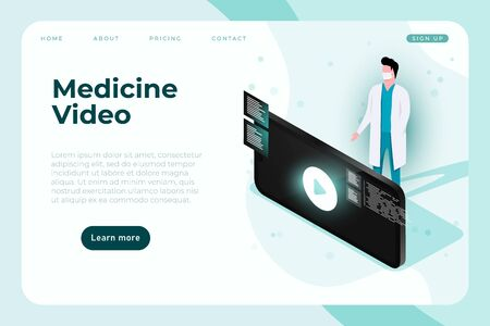 Medical themed video, vector landing page template with isometric smartphone and doctor