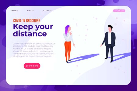 keep your social distance about 1-2 meters, covid-19 info broshure, landing page in modern style. Ilustracja