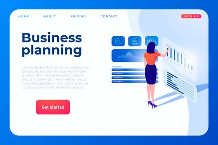 business planning landing page concept with illustration of women who watching and alanyze graphs and statistic.