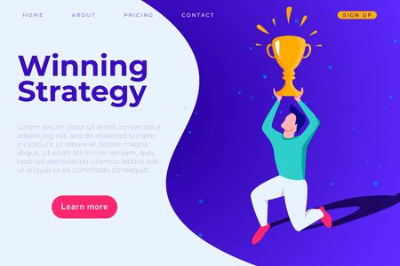 Winning strategy banner concept, right business solution landing page template. Man with champion cup above his head Ilustracja