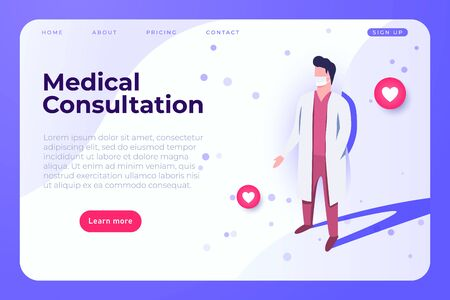 medical consultation landing web page illustration with doctor in lab coat. Ilustracja