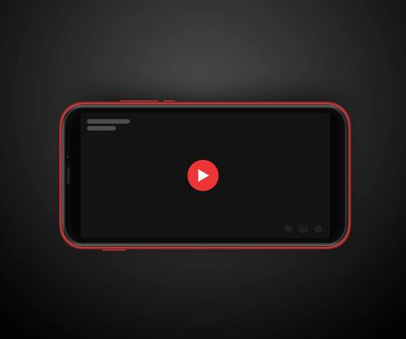 video sharing horizontal oriented post with 3d realistic cellphone mockup. red play button