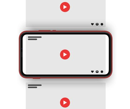 Video sharing social media carousel post with blank video screens with red play button.