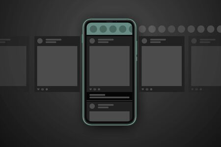Social media post carousel dark theme. Cellphone screens carousel in black mode. Social network interface