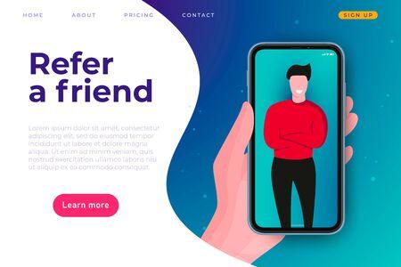 Affiliate program illustration concept. Refer a friend web stite page header template. Man at smartphone screen. Stock Illustratie