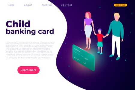Child banking card, website online banking page template. landing page cover. The family came to the bank to make the child a debit card