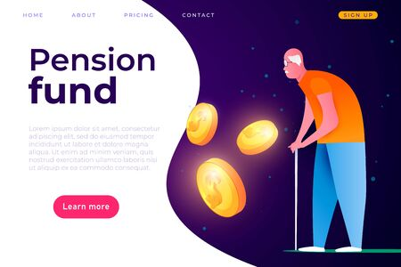 Pension fund landing page cover template, pension payments illustration concept. Web page header template.