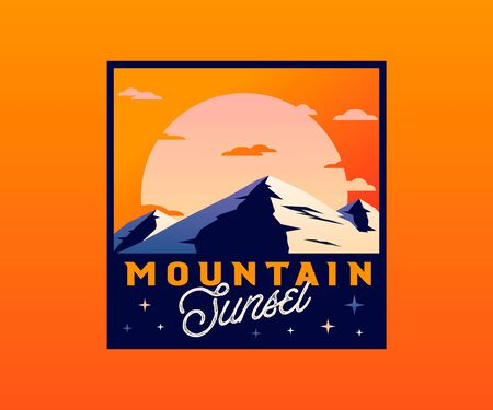 Retro mountain badge with sunset. Vector vintage styled outdoor wilderness badge