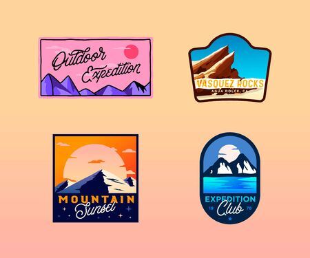 Vector hiking, camping, outdoor badges. wilderness retro vintage Ilustracja