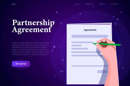 isometric partnership agreement landing page concept, modern stylish contract list with sign and blank text Ilustracja