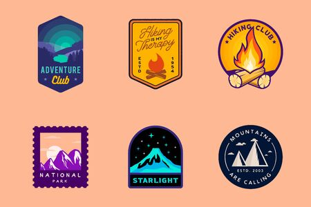 Wilderness and nature outdoor badges, hiking labels, mountain themed logos. Vector hiking, camping, outdoor badges. Ilustracja