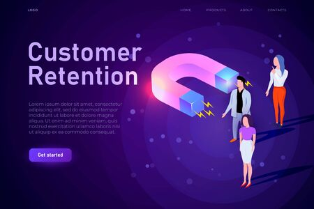 customer retention conceptual illustration, webpage landing template. Big magnet attracts customers, buyers. Responsive design for e-commerce sphere.  イラスト・ベクター素材