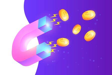 magnet attracting money, revenue boosting concept illustration