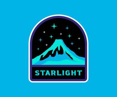 Volcano with stars, vintage retro badge. Starlight label, space stars, stellar background. Ilustracja