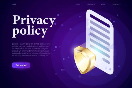 Privacy Policy illsutration concept, 3d contract with sign and 3d shield, protection concept. Isometric 3d website app. Landing web page template Ilustrace
