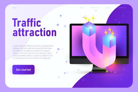 customer attraction, traffic boost website concept. 3d magnet and realistic desktop