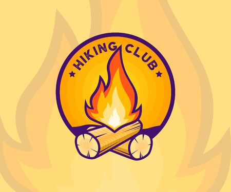 Hiking Club badge. Hiking club membership special sign with campfire, woods