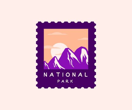 National park postage stamp. wilderness, wanderlust and nature badgee with mountain silhouettes and sunset