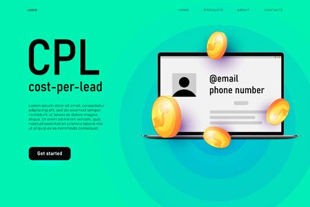 Cost per lead advertisement illustration concept. Customer loyalty program. Landing page template Zdjęcie Seryjne - 149242112