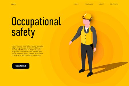 Safety equipment illustration concept. Occupational safety landing page template, health and safety concept. Ilustracja