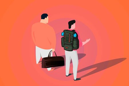 two men with travel bags, isometric illustration, migration and travel poster concept.