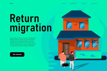 Return migration policy illustration concept with flat home and two isometric migrants. Back to home poster concept. Landing page template. Ilustracja
