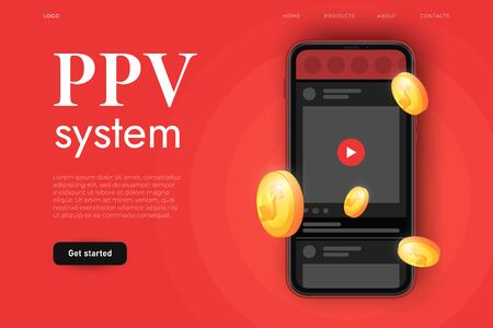 Pay per view advertisement illustration with realistic smartphone and play button on videoplayer. Watching content after purchasing concept. Landing page template Ilustracja