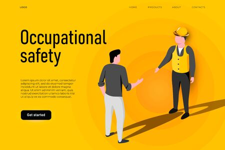 Safety equipment illustration concept. Occupational safety landing page template, two workers who talking about safety, health and safety concept. Ilustracja